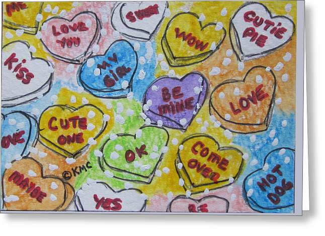 Valentine Candy Hearts Greeting Card by Kathy Marrs Chandler