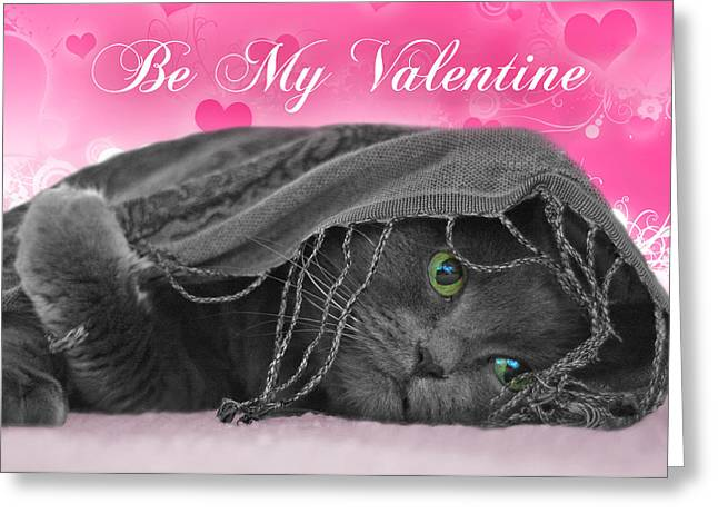 Valentine Cat Greeting Card by Joann Vitali