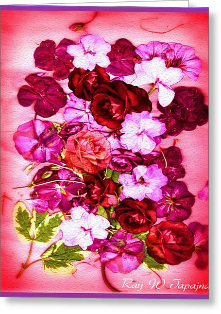 Valentine Flowers For You Greeting Card by Ray Tapajna
