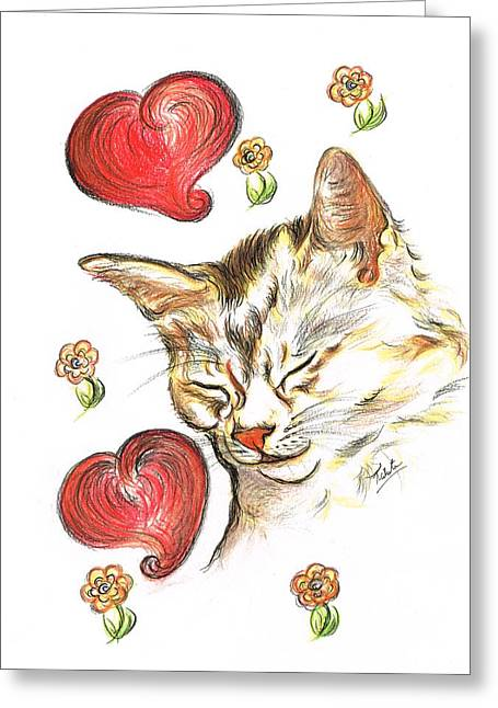 Valentine Cat Greeting Card by Teresa White