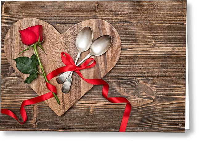 Valentine Table Setting Greeting Card by Amanda Elwell