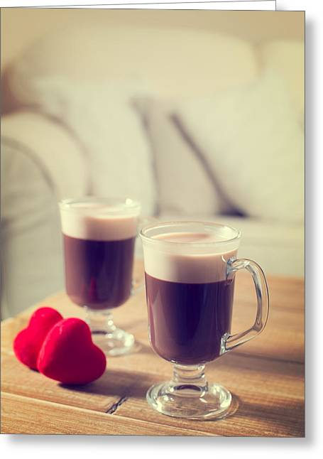 Valentines Day Coffees Greeting Card by Amanda Elwell
