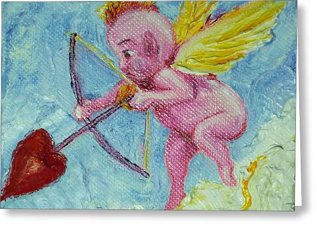 Valentine's Day Cupid And Heart Arrow Greeting Card by Paris Wyatt Llanso