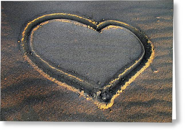 Valentine's Day - Sand Heart Greeting Card by Daliana Pacuraru
