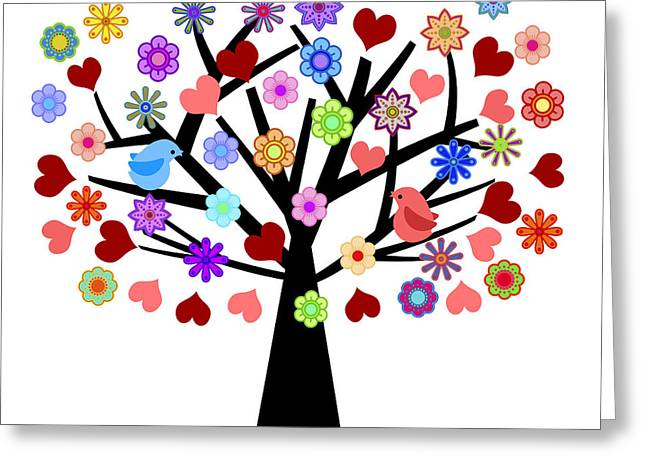 Valentines Day Tree With Love Birds Hearts Flowers Greeting Card