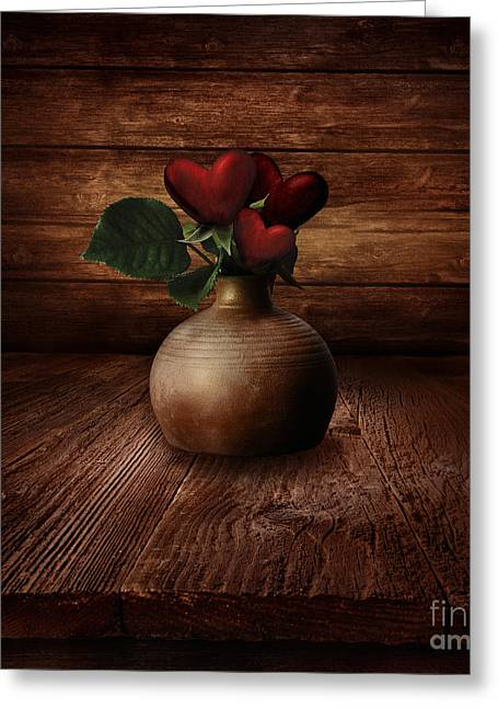 Valentines Design - Heart Flowers Greeting Card by Mythja  Photography