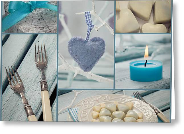 Valentines Dinner Collage Greeting Card by Mythja  Photography