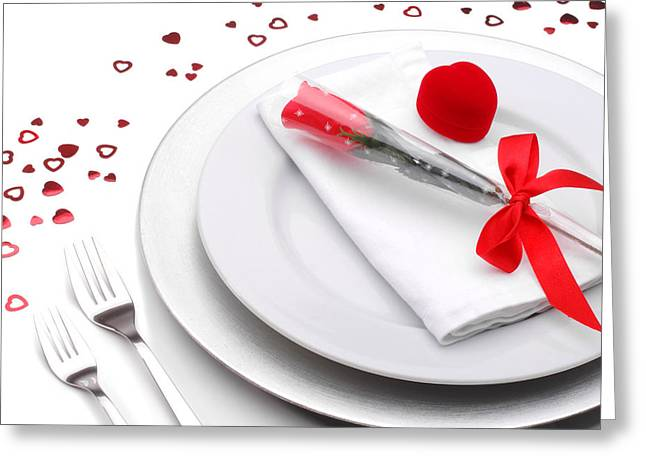 Valentines Romantic Dinner Greeting Card by Norman Pogson