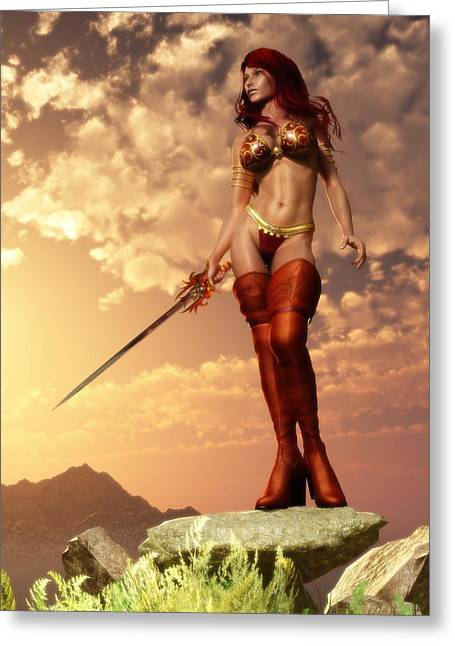 Greeting Card featuring the digital art Valkyrie by Kaylee Mason
