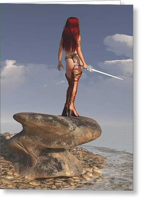 Greeting Card featuring the digital art Valkyrie On The Shore by Kaylee Mason