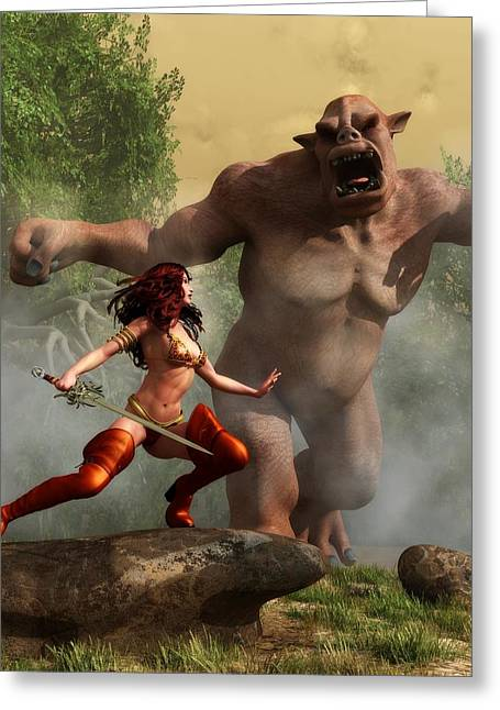 Greeting Card featuring the digital art Valkyrie Versus Ogre by Kaylee Mason