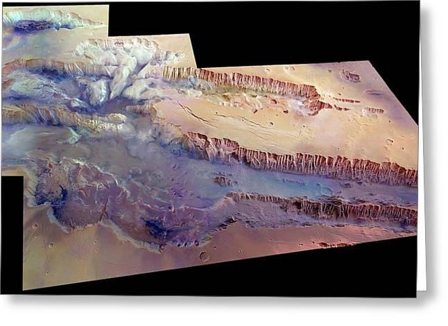Valles Marineris Greeting Card by European Space Agency/dlr/fu Berlin (g. Neukum)
