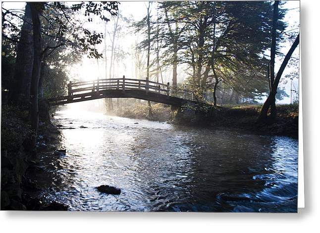 Valley Creek Bow Bridge At Valley Forge Greeting Card by Bill Cannon