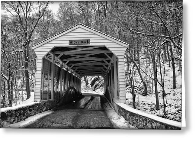 Valley Forge Covered Bridge In Black And White Greeting Card
