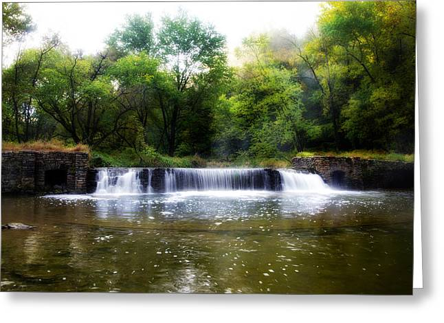 Valley Forge Pa - Valley Creek Waterfall  Greeting Card by Bill Cannon