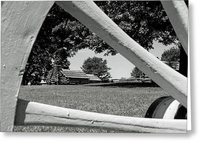 Valley Forge Park Cabin In Black And White Greeting Card