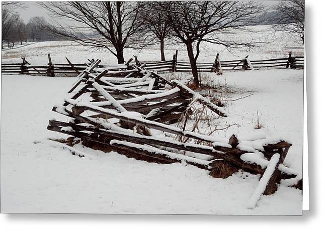 Valley Forge Snow Greeting Card by Michael Porchik