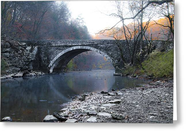 Valley Green Bridge Along The Wissahickon Creek Greeting Card by Bill Cannon