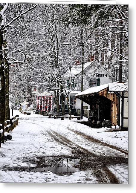 Valley Green In Winter Along Forbidden Drive Greeting Card by Bill Cannon