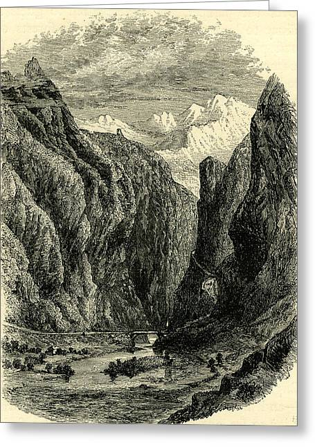 Valley In The Engadine Switzerland Greeting Card by Swiss School