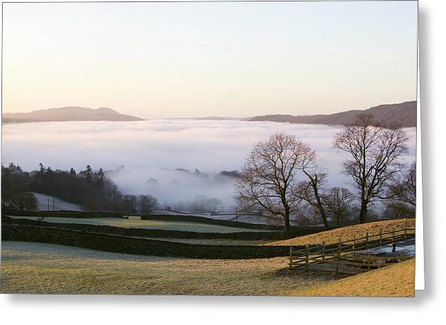Valley Mist Over Windermere At Dawn Greeting Card