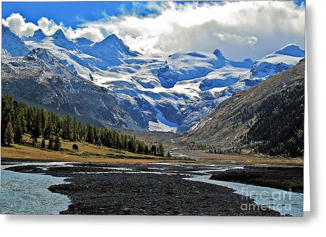 Valley Of A Glacier Greeting Card by Elvis Vaughn