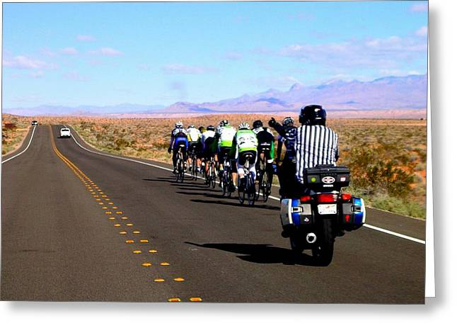 Valley Of Fire Bike Race Greeting Card by Cindy Croal