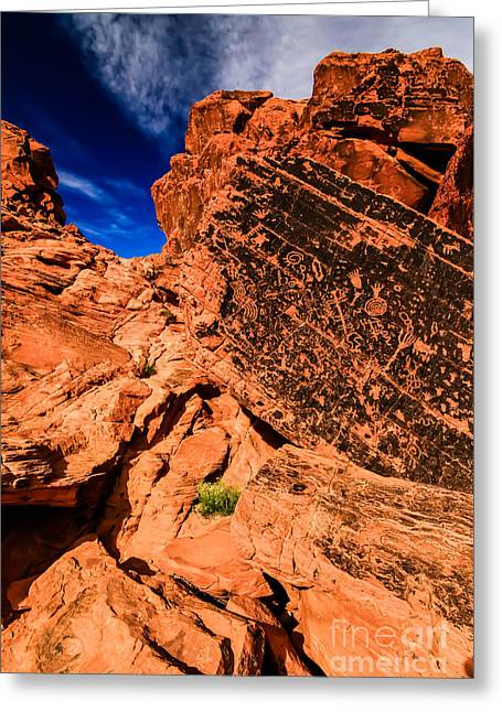 Valley Of Fire Petroglyphs Greeting Card by Brenda Giasson
