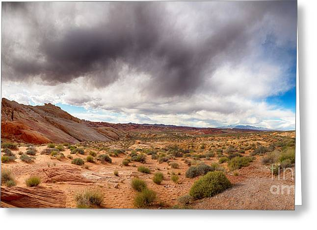 Valley Of Fire With Dramatic Sky Greeting Card by Jane Rix