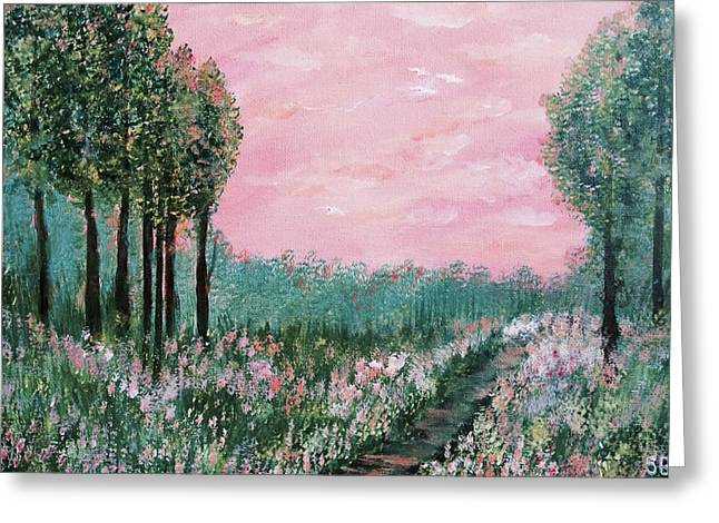 Valley Of Flowers Greeting Card by Suniti Bhand