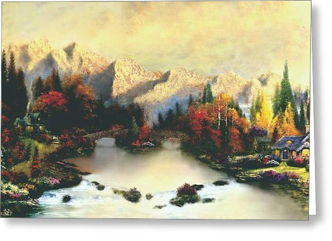 Valley Of Life  Thomas Kinkade Look A Like Greeting Card by Jessie J De La Portillo