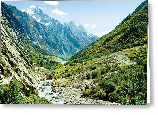 Valley Of River Ganga In Himalyas Mountain Greeting Card