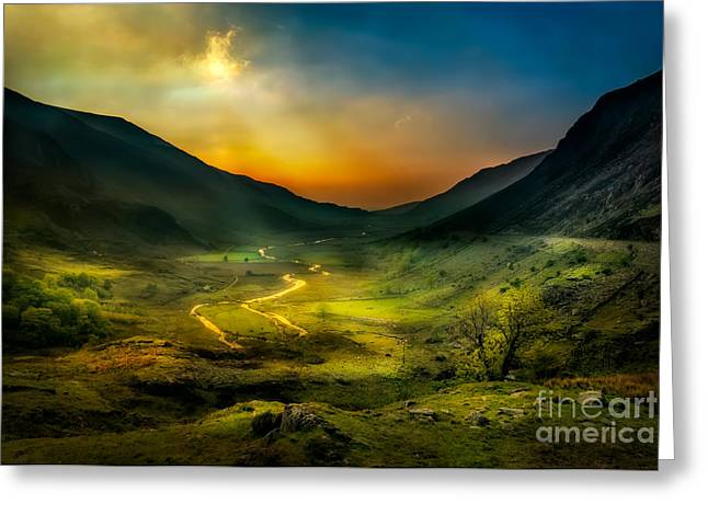 Valley Shadows Greeting Card by Adrian Evans