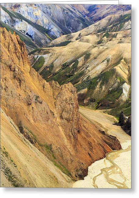 Valley Through Rhyolite Mountains Greeting Card by Mart Smit