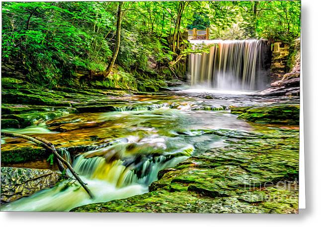 Valley Waterfall  Greeting Card by Adrian Evans