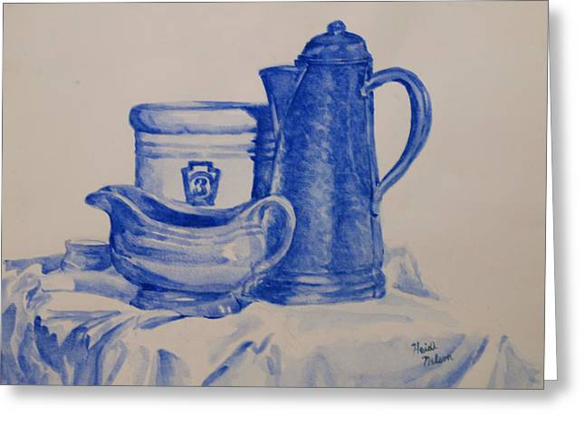 Value Study In Blue Greeting Card by Heidi E  Nelson