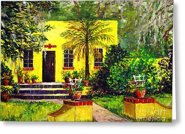 Greeting Card featuring the painting Vamo Road House by Lou Ann Bagnall