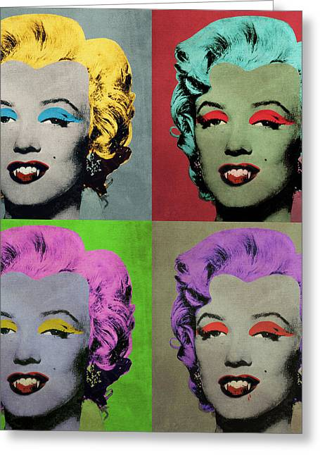 Vampire Marilyn Set Of 4 Greeting Card by Filippo B