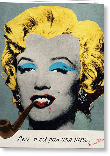 Vampire Marilyn With Surreal Pipe Greeting Card by Filippo B