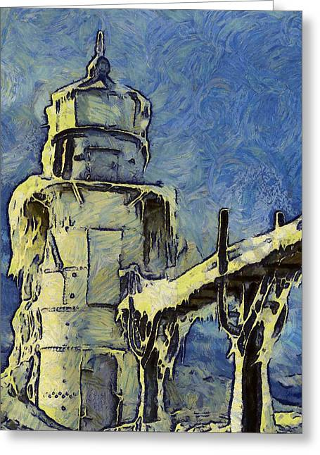 The Frozen Lighthouse Lake Michigan Greeting Card by Dan Sproul