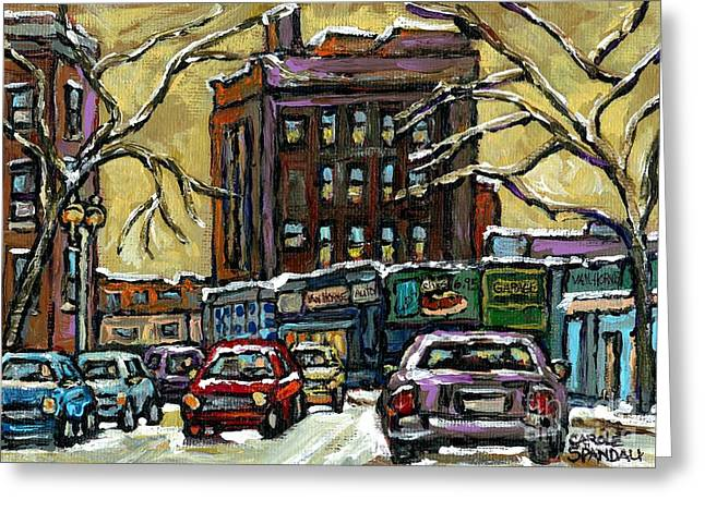 Van Horne Corner Ave Du Parc On The Road Again Montreal Cars In January City Life Paintings Cspandau Greeting Card by Carole Spandau