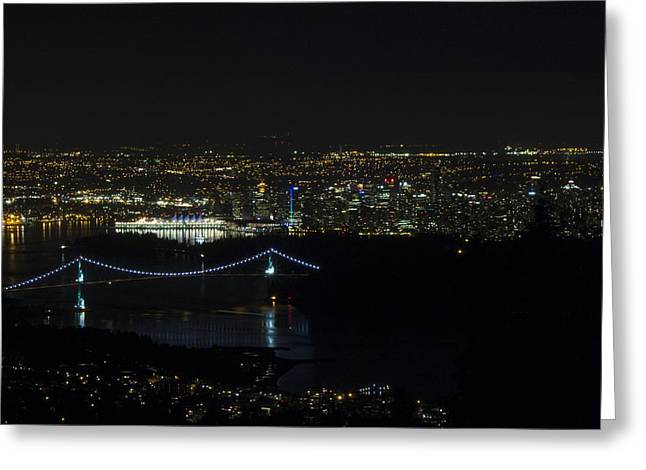 Vancouver At Night Greeting Card by Jeremy Oberg