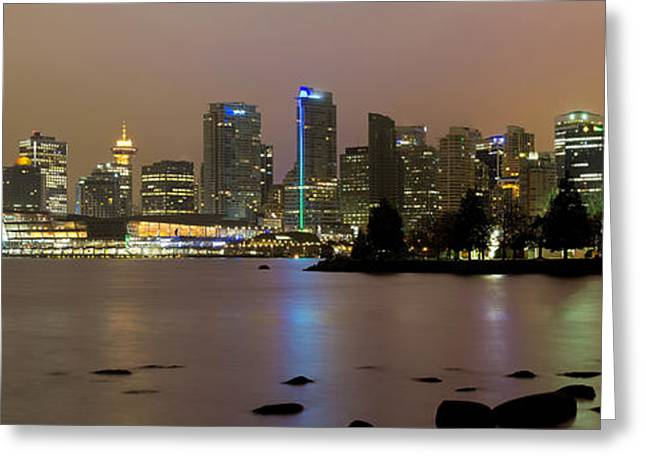 Vancouver Bc City Skyline At Night Greeting Card by David Gn