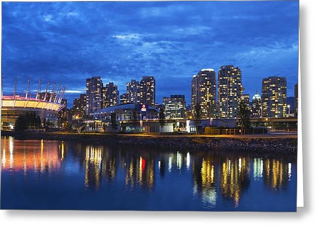 Vancouver Bc City Skyline With Bc Place At Blue Hour Greeting Card by David Gn