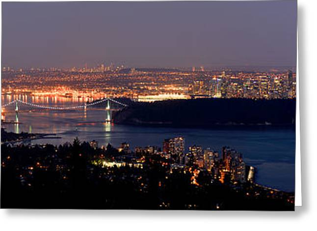 Vancouver B.c. Glowing Skyline Greeting Card