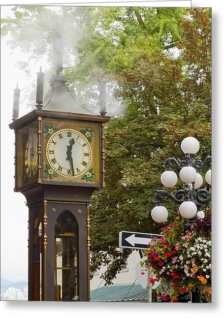 Greeting Card featuring the photograph Vancouver Bc Historic Gastown Steam Clock by JPLDesigns