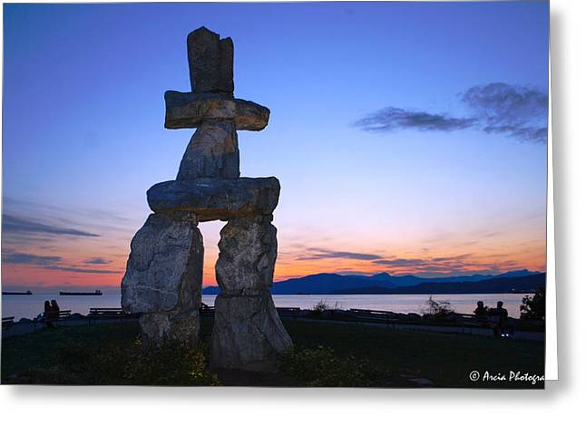 Vancouver Bc Inukshuk Sculpture Greeting Card