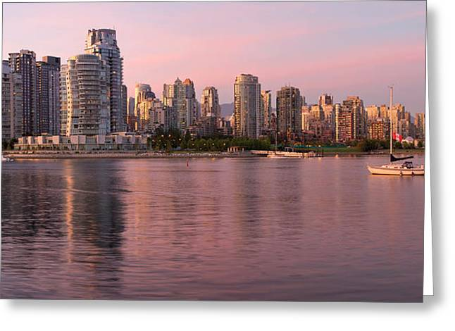 Greeting Card featuring the photograph Vancouver Bc Skyline Along False Creek At Dusk by JPLDesigns