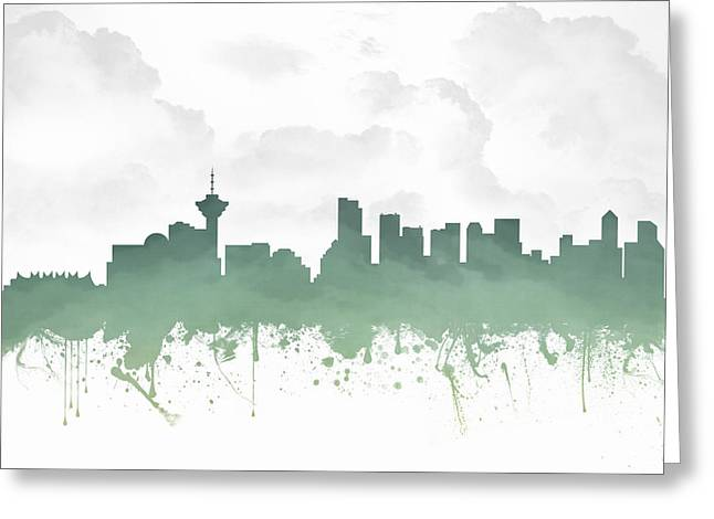 Vancouver British Columbia Skyline - Teal 03 Greeting Card