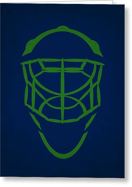 Vancouver Canucks Goalie Mask Greeting Card by Joe Hamilton